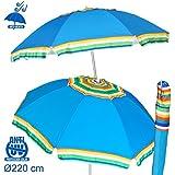 Sombrilla cortaviento azul Garden de poliéster para playa de 220 cm. - Lola Derek