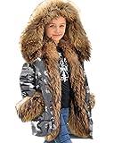 Aofur Warme Jungen Winterjacke Mädchen Winter Jacke Parka lang Mantel Winterjacke Fell Kragen Blouson Kinder Kapuzenparka Warm Blouson 6-13 Jahre (8-9 Jahre/Körpergröße 130-140, Tarnung Grau)