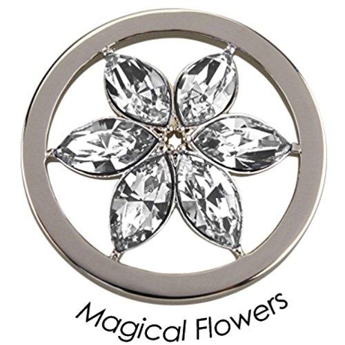 Quoin Damen-Schmuckmünze Magical Flowers Münze Medium Edelstahl Kristall transparent - QMOK-15M-E-CC