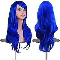 EmaxDesign Peluca de mujer de 70 cm de longitud Melena larga y con volumen, de estilo ondulado y resistente al calor, incluye rejilla para el pelo y peine para peluca(Color: Azul oscuro)