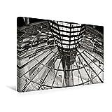 Premium Textil-Leinwand 45 cm x 30 cm quer, Reichstagskuppel - Konferenzraum in Berlin-Mitte | Wandbild, Bild auf Keilrahmen, Fertigbild auf echter BERLIN in SCHWARZWEISS (CALVENDO Orte)