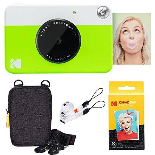 Kodak pacchetto base per fotocamera istantanea printomatic (verde) + carta zink (20 fogli) + custodia deluxe + comoda tracolla