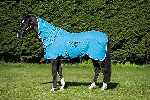 Rambo sec Tapis Supreme–Cheval Poney en polaire confortable Equestrian Cooler, bleu/noir/blanc, Full