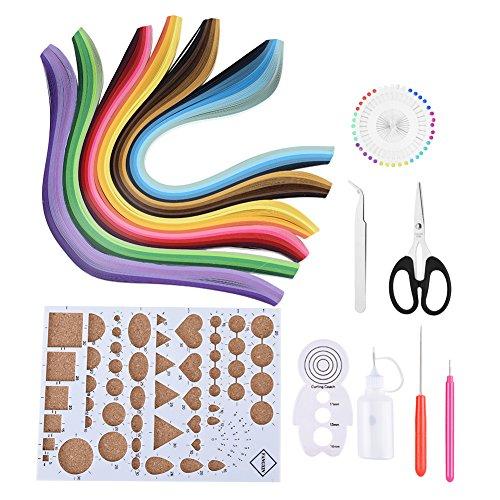 14 x DIY Quilling-Papierstreifen-Set mit 6 Farben, Quilling-Papier, Bastelbrett, Pinzette, Kleber, Bastelwerkzeug, 5 mm x 39 cm -