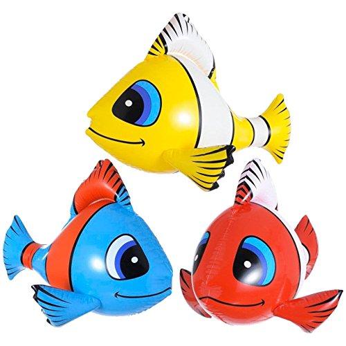 Fische Tropische Aufblasbare (3 x aufblasbarer tropischer Fisch 60cm Dekoration Fische Bad Garten)