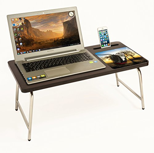 BLUEWUD Stainless Steel Riona Laptop Table with inbuilt Mobile Stand and Mouse Pad, Full Size (Sunrise)