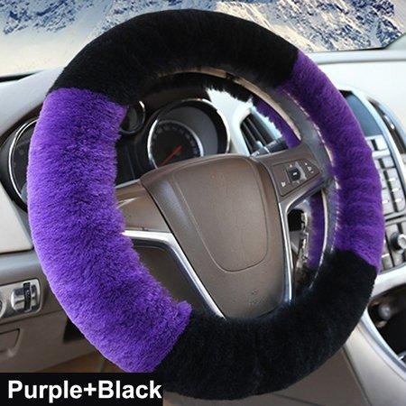 QQCCJW Lenkradhüllen LenkradhüllenAuto Lenkradabdeckungechtes Leder Fell 6 Farben warm weich für Auto Auto Lenkrad,lila schwarz