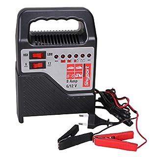 SKYPORT Batterie Ladegerät 6V/12V - 8A (mit Batterielader für Motorrad und KFZ Batterien bis zu 120 Ah - Starthilfe)