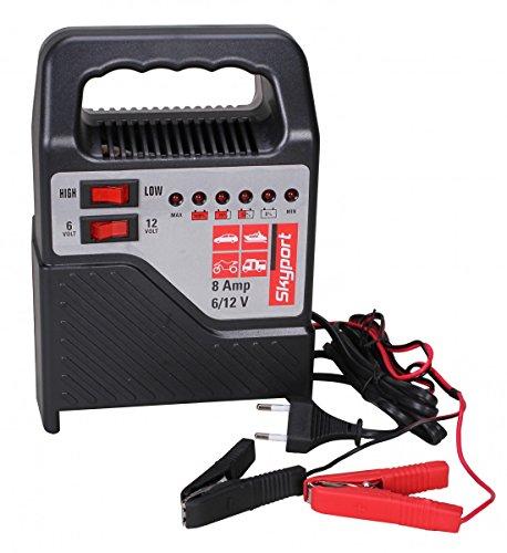 SKYPORT Batterie Ladegerät 6V/12V - 8A (mit Batterielader für Motorrad und KFZ Batterien bis zu 120 Ah - - Volt Dc-batterie-ladegerät 12