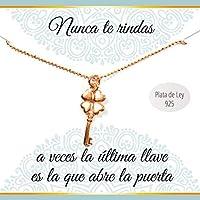 Colgante Llave de la suerte de Plata de Ley chapado en Oro rosa | Collar con mensaje | Regalos especiales | Colgante amuleto de la Suerte| Envío gratis