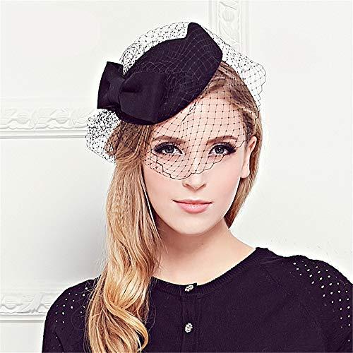 ische Retro-Hüte Großhandel Frauen Mesh Bankett Hut Braut Tiara Hut (Farbe : Schwarz) ()