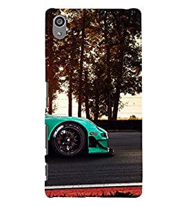 printtech Superfast Car Racing Road Back Case Cover for Sony Xperia Z5 Premium Dual