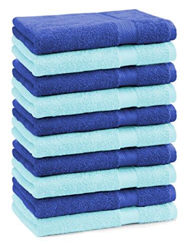 BETZ lot de 10 serviettes débarbouillettes taille 30x30 cm 100% coton Premium couleur turquoise et bleu royal