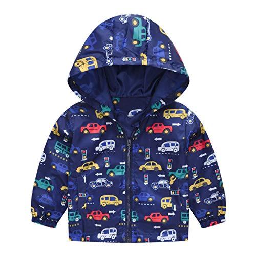 MRULIC Kinder Mädchen Jungen Floral Bedruckter Frühling mit Kapuze Licht Mantel Reißverschluss Jacke Tops Sonnenschutz Kleidung 1-6 Jahre(B-Blau,100-110CM)