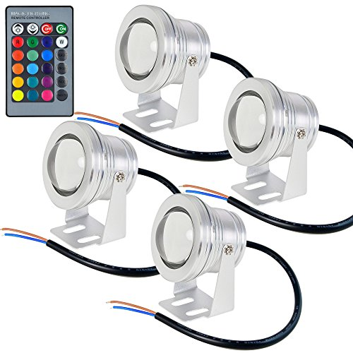 MENGS® 4 Stück 10W RGB LED Lampe DC 12V Unterwasserbecken Mit Aluminium Mantel+ Fernbedienung