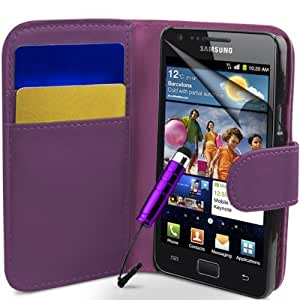 Purple Flip Wallet Leather CASE COVER FOR SAMSUNG GALAXY i9100 S2 + Free Screen Protector, Cloth and stylus Pen BY Mobile_Mania