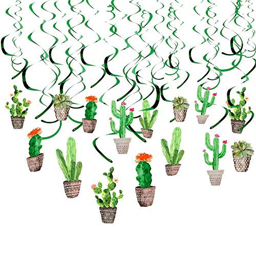 Howaf 30Piezas Cactus Colgante Remolino Guirnalda serpentinas espirales Decoración de Techo para Fiesta Mexicana Granja Baby Shower Niños Cumpleaños Fiesta Decoración Suministros