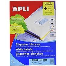 Apli 1284 - Etiquetas para impresoras inkjet, láser y fotocopiadoras, A4, color blanco