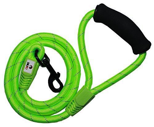 Correa para perros en cuerda de escalada de montaña a 4 pies de largo (122cm), hecha de cuerda de nylon muy resistente y confortable al tacto, absorbe la estirada de tu mascota. Ideal para razas Pequeñas, Medianas a Grandes