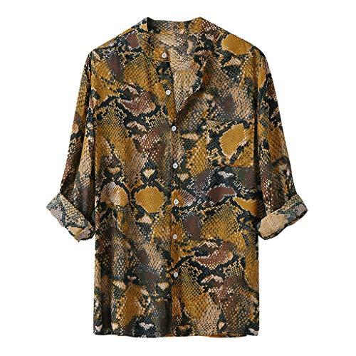 Herren Hemd Kurzarm Herren Langarm Sommerhemd Herren Regular Fit Freizeithemd Front-Tasche | Leopard -Print - Überprüfen Sie Classic Fit Shirt