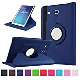 Samsung Galaxy Tab E 9.6 Coque,Flip Case Cover Avec Stand Étui en PU Cuir Rotative 360 degrés Housse de Protection pour Samsung Galaxy Tab E 9.6 Pouces SM-T560 / T561 Coque en Cuir Protecteur (Bleu foncé)