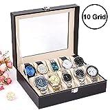 #6: Emndr 10 Slot Watch Storag Box Leather Box Jewelry Storage Organizer Storag Case for Men & Women