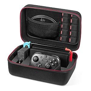 Nintendo Switch Tasche – Younik Deluxe harte Schalle Hülle für die Nintendo Switch Konsolle, Switch Dock, Netzteil, HDMI Kabel, Pro Kontrolleur und 10 Spiele