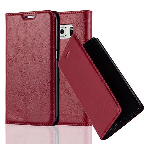 Cadorabo Hülle für Samsung Galaxy S6 Edge - Hülle in Apfel ROT – Handyhülle mit Magnetverschluss, Standfunktion und Kartenfach - Case Cover Schutzhülle Etui Tasche Book Klapp Style