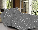 #7: Trance Home Linen 100 % Cotton 300TC King Double Fitted Bedsheet with2 pillow covers - Abstract Grey White Design