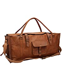 E-Tailor® Pure Brass Fittings Best Quality Long Lasting Vintage Brown Genuine Leather Travelling Luggage Duffel Bag
