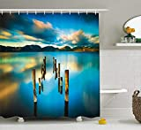 KRISTI MCCARTNEY Scenery House Decor Shower Curtain by, Surreal Landscape with Wood Deck and Clouds in Sky Coastal Charm, Fabric Bathroom Decor Set with Hooks, 84 inches Extra Long, Turquoise White