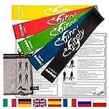 FitFitaly Bande Elastiche Resistenza - 5 Elastici Fitness, Borsa, PDF x Esercizi