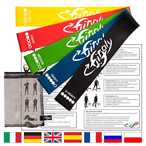 Fitfitaly bande elastiche resistenza | 5 elastici fitness, borsa, pdf x esercizi