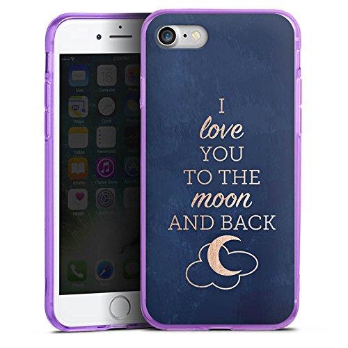 Apple iPhone 7 Silikon Hülle Case Schutzhülle Sprüche Moon I Love You Love Silikon Colour Case lila