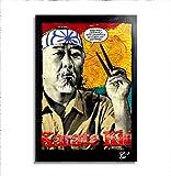 Maestro Miyagi (Pat Morita) dal Film The Karate Kid (1984) - Quadro Pop-Art Originale con Cornice, Dipinto, Stampa su Tela, Poster, Locandina, Arti Marziali