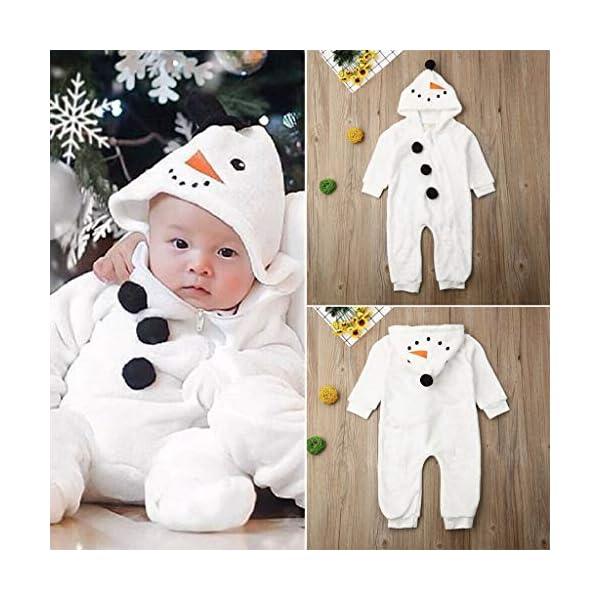 Mono de muñeco de Nieve Niñito Bebé Invierno Lindo Chico Chica Navidad Cosplay de muñeco de Nieve Disfraz Mameluco… 2