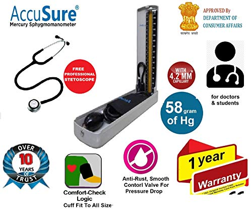 AccuSure 4.2 mm Hg Professional Sphygmomanometer with Upper Arm Cuff Blood Pressure Monitoring Machine