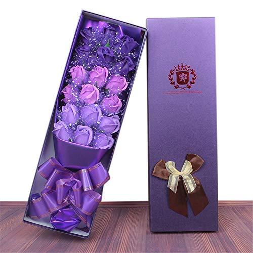 Liuzecai Künstliche Blumen Rosen Künstliche Rosen Valentinstag oder Geburtstag für DIY Hochzeit Braut Brautjungfern Bouquets (Farbe : 18 Snow Yarn Purple Gradient)
