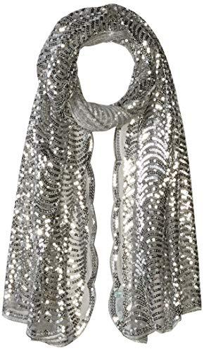 Betsey Johnson Damen Tulle Wrap w/Sequin Scallop Pattern Modischer Schal, Silber, Einheitsgröße Betsey Johnson Wrap