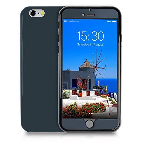 Mygadget 360 gradi custodia per apple iphone 6+/6s plus - cover full body case antishock - protezione completa rigida avanti tpu + dietro rigida - blu