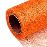 Schnoschi Dekostoff orange, Rolle 9 m x 30 cm, Tischläufer, Dekonetz, Tischband, Netzstoff, Textil-Netzgewebe