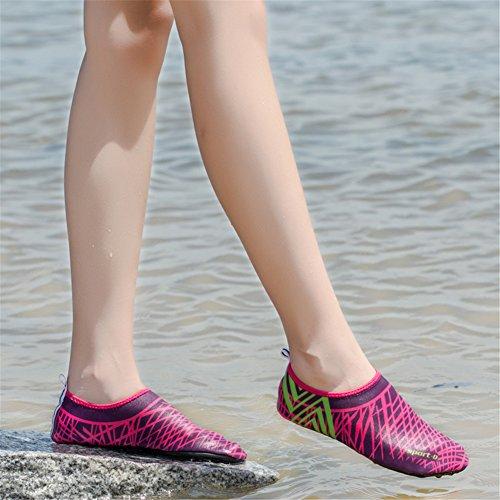 SAGUARO® Pelle Scarpe piedi nudi acquatico Aqua calzini per Beach Swim Surf Yoga Rosa Rosso