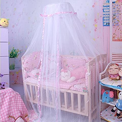 Baby Mosquito Net Baby Toddler Bed Crib Canopy Netting Dome Hanging Mosquito Soft Breathable (Pink) by COFFLED - Canopy Toddler Crib