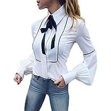 SamMoSon Bluse Lang Sleeve Shirt Bluse mit Schleife Damen Bluse  Bluseneinsatz Kragen Damen Langarm Lose Hemd 27486a7ff0