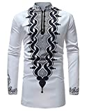 T-Shirt Africain Chemise À Manches Longues Hommes Africain Dashiki Graphique Pullover T-Shirt pour Hommes Tribal Festival Tops Blanc M