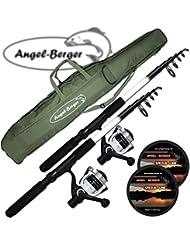 Angelshop Berger - Equipo completo de pesca, con 2 cañas telescópicas, rodillos y bolsa
