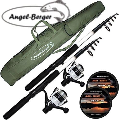 Angel-Berger-Angelset-Komplettset-2-Teleskopruten-Rollen-Rutentasche