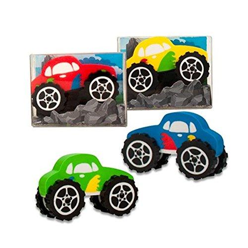 4x Radierer Monster Auto | Radiergummi | für Jungen | Mitgebsel | Schulgeschenk | Fahrzeug