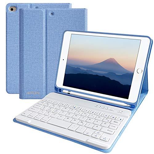 HOTLIFE Tastatur Hülle für iPad Mini5 2019, Slim Soft TPU Rückseite Abdeckung Keyboard Case mit eingebautem Pencil Halter und magnetisch Abnehmbarer drahtloser Bluetooth QWERTZ Tastatur (Himmelblau) (Apple Ipad Mini Tastatur)