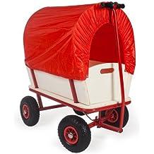 Charrette à bras Bubi en bois avec siège bache rouge voiturette voiture 150kg